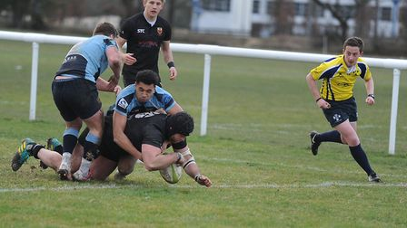 Colchester's James Mitchell scores his hat-trick try in the win over Eton Manor. Picture: PICAXIS PH