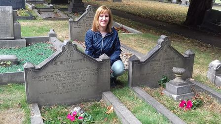Rachel by the graves of her great-aunts. 'Gladys had been married only a few months when she died an