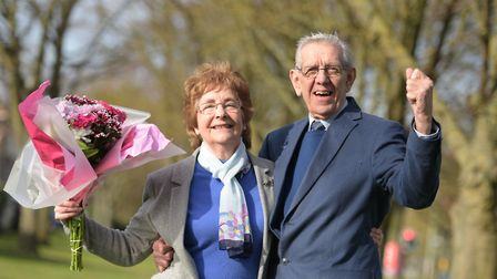 Mary and Michael Brown celebrating after winning £1000 Picture: SARAH LUCY BROWN