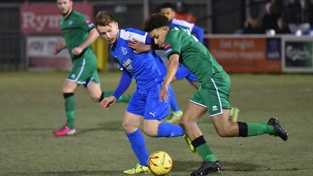 Byron Lawrence was on target for Leiston in their win over Lowestoft in the Suffolk Premier Cup. Pic