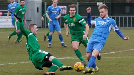 Byron Lawrence, foreground, was on target for Leiston in their Suffolk Premier Cup win over Lowestof