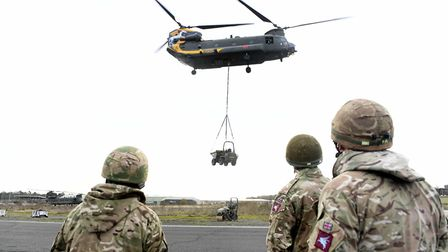 A Chinook lifts off in Woodbridge, a sight residents will see beyond 2017 as Rock Barracks is saved