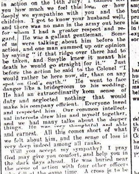 A newspaper cutting of a letter sent to Capt Smylie's widow Beatrice by his regimental padre after h