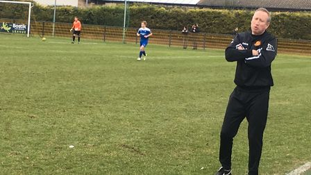 Mildenhall Town manager, Ricky Cornish, rues another missed chance during his side's 0-0 draw agains