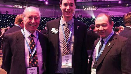 From left, David Barker with the NFU's new Suffolk county adviser Charles Hesketh and county branch