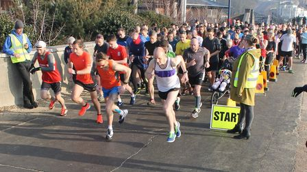 The start of Saturday's 46th staging of the Felixstowe parkrun. Picture: FELIXSTOWE PARKRUN FACEBOOK