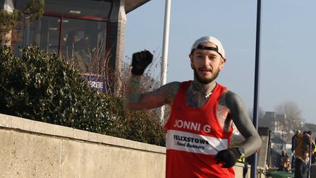Jonathan Glanfield, who finished second overall at the Felixstowe parkrun on Saturday, in a pesonal