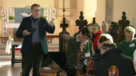 Bill Turnbull chaired the meeting at Theberton Church. Picture: PAUL GEATER