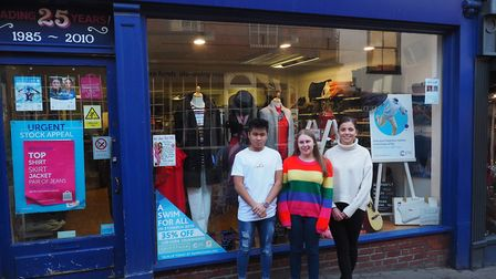 Students outside the Cancer Research shop in Bury Picture: DANNY HEWITT