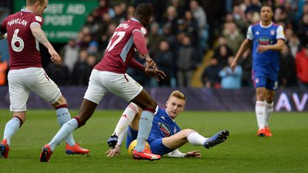 Flynn Downes battles on the floor at Villa Park. Picture: Pagepix