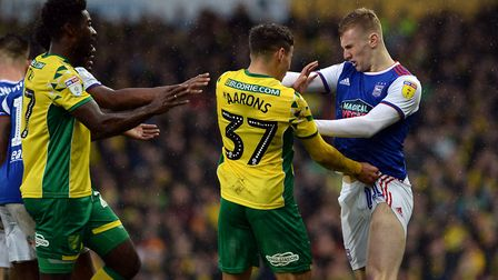 Flynn Downes faces off with Max Aarons as tempers flare again at Carrow Road. Picture Pagepix