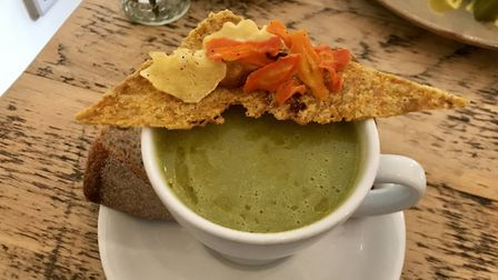 The leek top, broccoli and roasted cashew soup