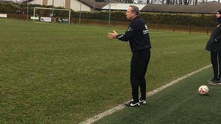 Mildenhall Town manager, Ricky Cornish, urges on his side during the recent 0-0 draw against local r