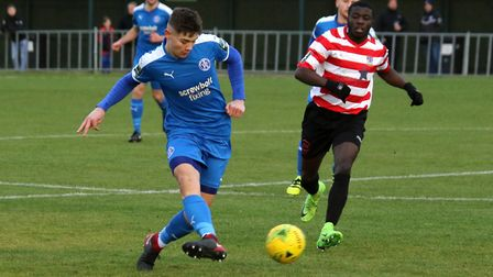 Leiston's Harry Knights, one of a crop of teenagers in the Leiston first-team squad. Picture: JOHN H