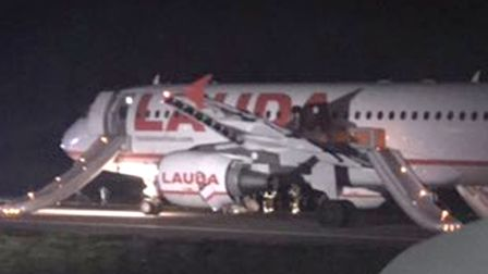 The Laudamotion plane at Stansted Airport after an aborted take-off Picture: THOMAS STEER/PA WIRE