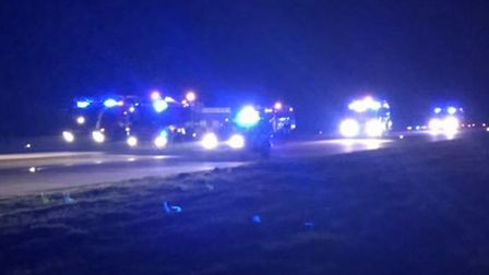 Emergency services on the runway at Stansted after a plane was aborted at take-off Picture: THOMAS S