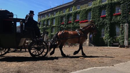 A host of coaches and horses recreated the bustling streets of London on Angel Hill, Bury St Edmunds