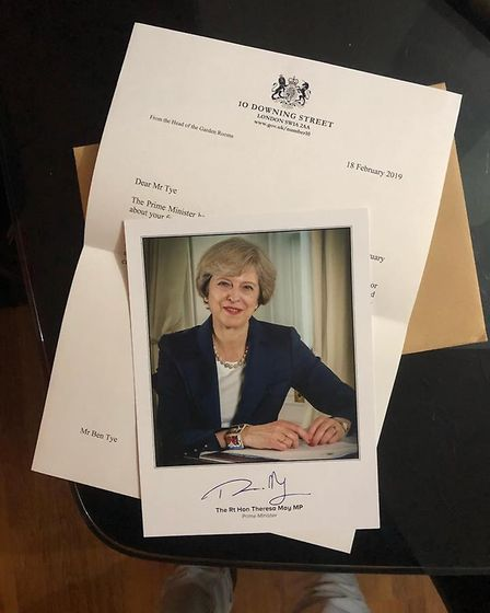 Theresa May's letter of support to Harwich drag queen Ben Tye Picture: BEN TYE/PA WIRE