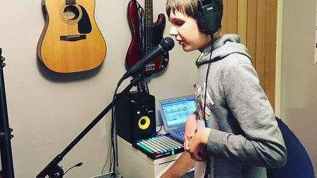 Ethan Peacock recording his single, Unique. Picture: PEACOCK FAMILY