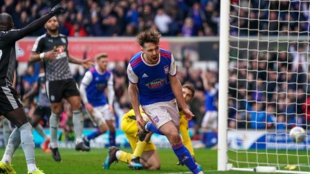 Gwion Edwards celebrates his equaliser in Saturday's 2-1 home defeat to Reading. Photo: Steve Waller