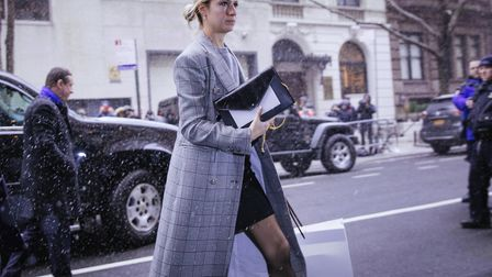 Fashion designer Misha Nonoo arrives for the baby shower for Meghan, Duchess of Susse. Picture: AP P
