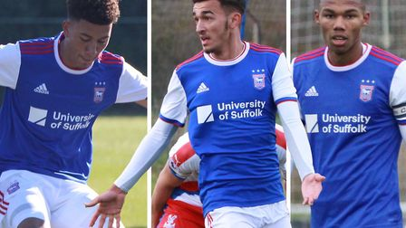 Kai Brown, Idris El Mizouni and Corrie Ndaba have signed professional deals with Ipswich Town. Pictu