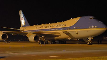 Air Force One, carrying President Trump, prepares to depart RAF Mildenhall following a refuelling st