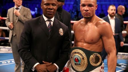 Chris Eubank Jr (right) celebrates his victory against James DeGale in the Vacant Ibo Super-Middlewe