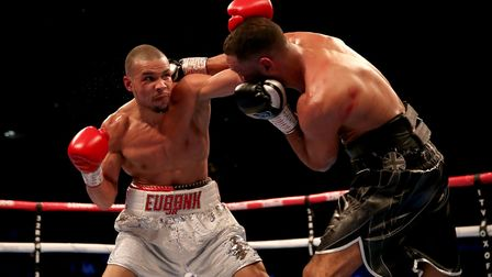Chris Eubank Jr (left) competes against James DeGale in the Vacant Ibo Super-Middleweight Championsh