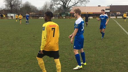 Action from last weekend's local derby, with Mildenhall right winger Sandro Costa Dias Fernandes and