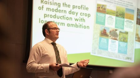 NFU crops board chairman Tom Bradshaw at the 2019 conference Picture: TOBY LEA