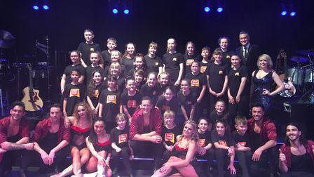 Youngsters from Stagecoach Theatre Arts with Brendan Cole and dancers from 'Show Man' at the Ipswich