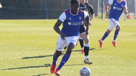 Josh Emmanuel on the ball during Town U23s 4-1 win over Colchester Picture: ROSS HALLS