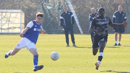 Brett McGavin in action during Town U23s 4-1 win over Colchester Picture: ROSS HALLS