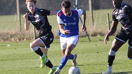 Idris El Mizouni goes forward during Town U23s 4-1 win over Colchester Picture: ROSS HALLS