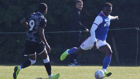 Toto Nsiala in action during Town U23s 4-1 win over Colchester Picture: ROSS HALLS