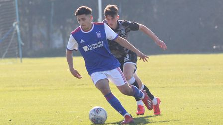 Armando Dobra on the ball during Town U23s 4-1 win over Colchester Picture: ROSS HALLS