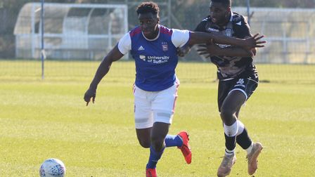 Josh Emmanuel battles for the ball during Town U23s 4-1 win over Colchester Picture: ROSS HALLS