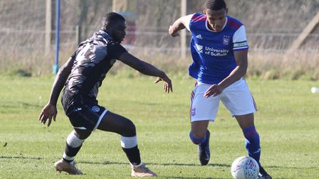 Corrie Ndaba on the ball during Town U23s 4-1 win over Colchester Picture: ROSS HALLS