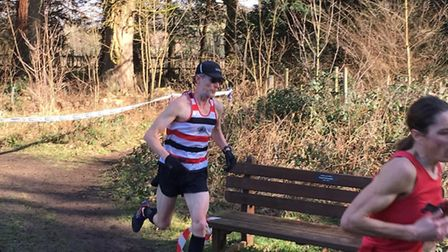 Chris Cooke, of Saint Edmund Pacers, on his way to 23rd spot and first over-55 veteran at the Suffol