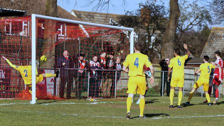 GOAL (1-0) Miles Powell (right) fires in the opening goal for the Seasiders Photo: STAN BASTON