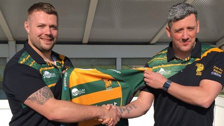 Bury St Edmunds Head Coach Nick Wakley, right, welcomes Ben Cooper back to The Haberden. Picture: CA