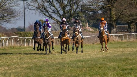 Runners in the Hunt Race ( the winner One Fine Morning, ridden by Charlie Clover, far right ) Photo: