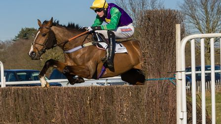 Broken Eagle, ridden by Jack Andrews, on his way to eighth course win at Higham. Photos: GRAHAM BISH