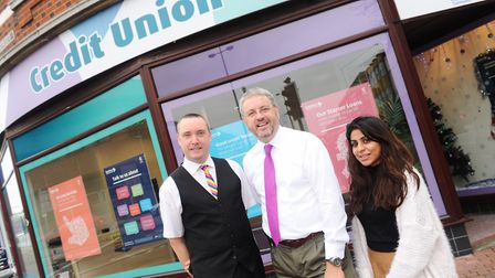 Chris Mole (centre) with colleagues Tony Squirrell and Arti Patel photographed in 2015 outside the E