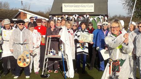 Decorators turned out to give Newton Green's new lady captain Cate Fraser a paint-job send off. She