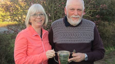 Sue and Paddy Lockwood of Newton Green with the Suffolk Winter Alliance Millennium Cup which they wo