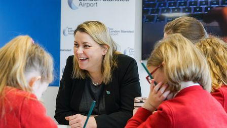 Aviation Minister, Liz Sugg, meeting with youngsters at Stansted Airport Picture: TONY PICK