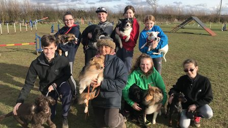 Some of the youngsters and dogs being trained by Jacquid Wood at Ace Agility in Glemsford near Sudbu