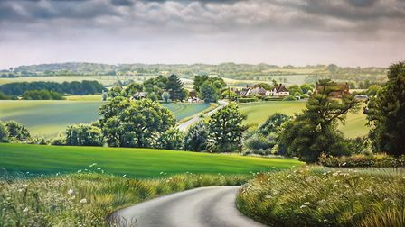 Pastel painting of Hawkedon by Mark Turnbull